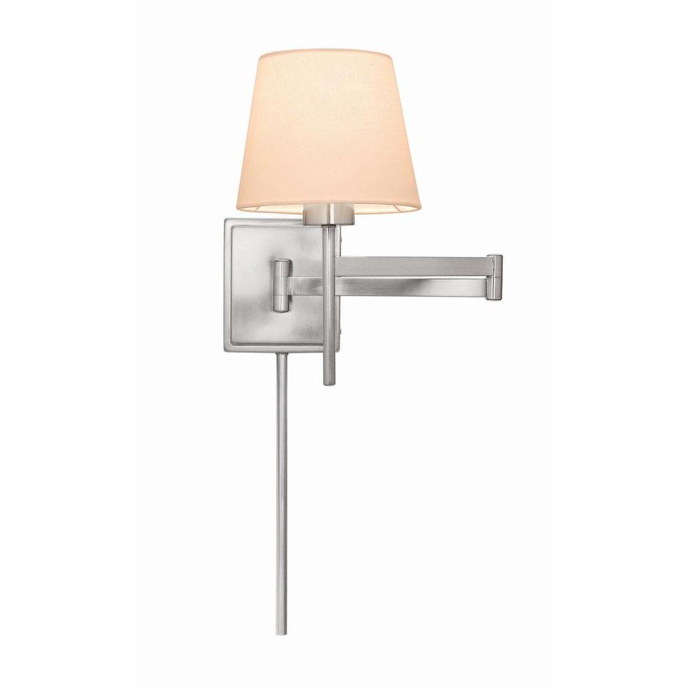 1-Light Brushed Nickel Swing Arm Sconce with White Linen Shade