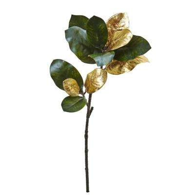 Indoor 32 in. Golden Magnolia Leaf Artificial Stem (3-Set)