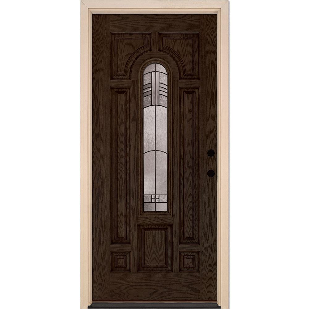 37.5 in. x 81.625 in. Rochester Patina Center Arch Stained Walnut