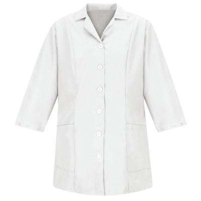 Women's Size XL White Smock Fitted Adjustable Sleeve