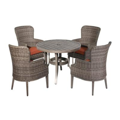 Tenaya 5-Piece Wicker Outdoor Serving Bar Set with Red Cushions