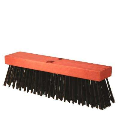 16 in. Black Steel Concrete Finish Broom-Wood Block