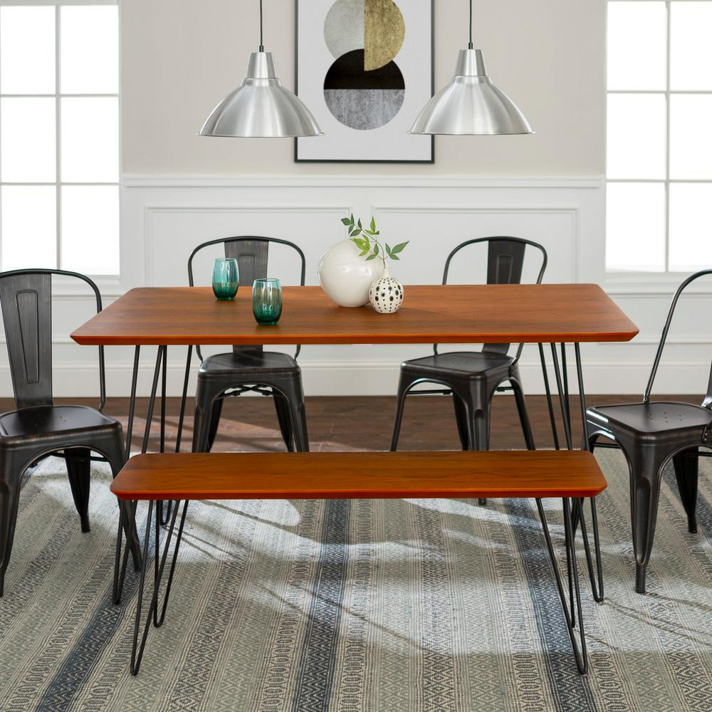Walker Edison Furniture Company Contemporary Mid Century Modern Urban Square Hairpin 6 Piece Walnut Black Dining Set With Caf Chairs Hd60hpmcwt 6 The Home Depot