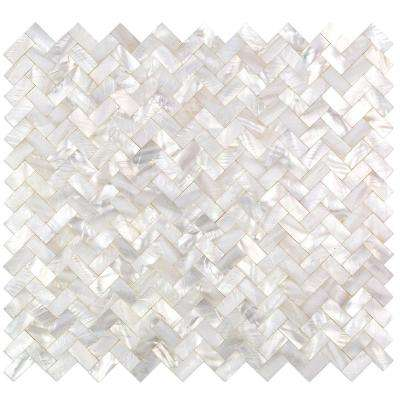 Lokahi White Herringbone Pearl Shell Mosaic Tile - 3 in. x 6 in. Tile Sample