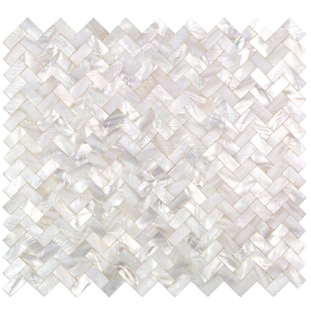 Splashback Tile Lokahi White Herringbone Pearl Shell Mosaic 3 In X 6