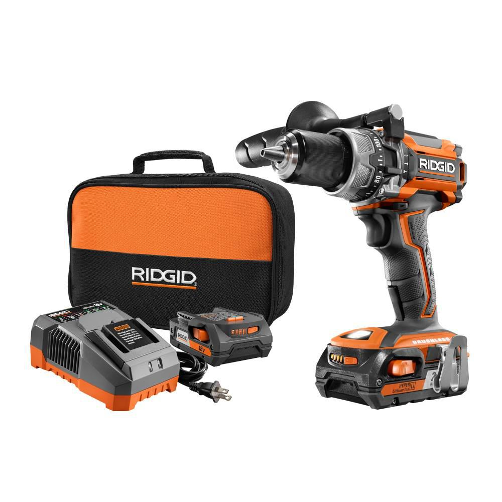 RIDGID 18-Volt Lithium-Ion Cordless Brushless 1/2 in. Compact Hammer Drill Kit with (2) 2.0 Ah Batteries, Charger, and Bag
