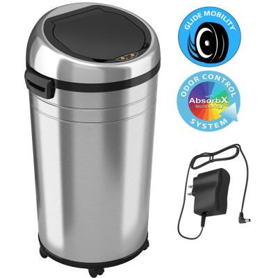 23 Gallon Stainless Steel Touchless Sensor Trash Can with Odor Control System and Removable Wheels, Extra-Large Capacity