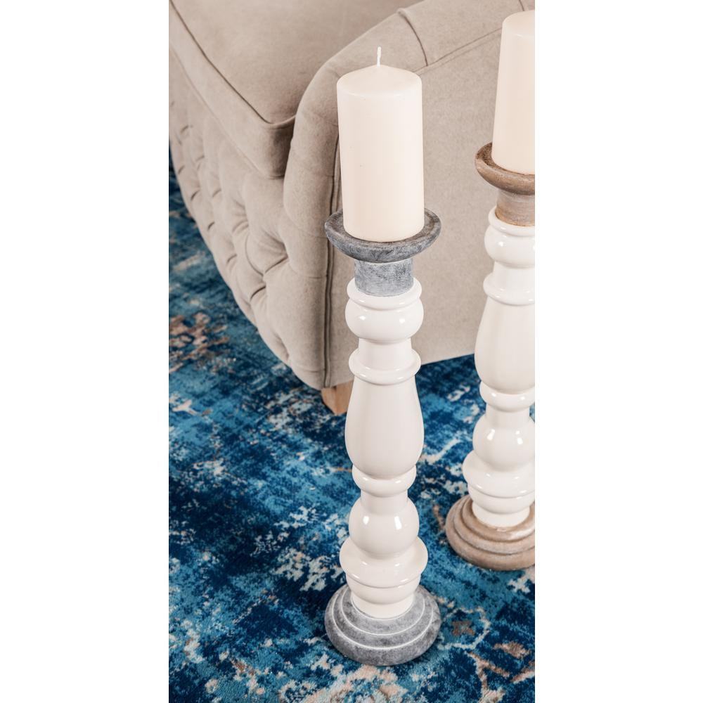 White Baluster-Style Ceramic Candle Holders with Gray Accents (Set of 2)