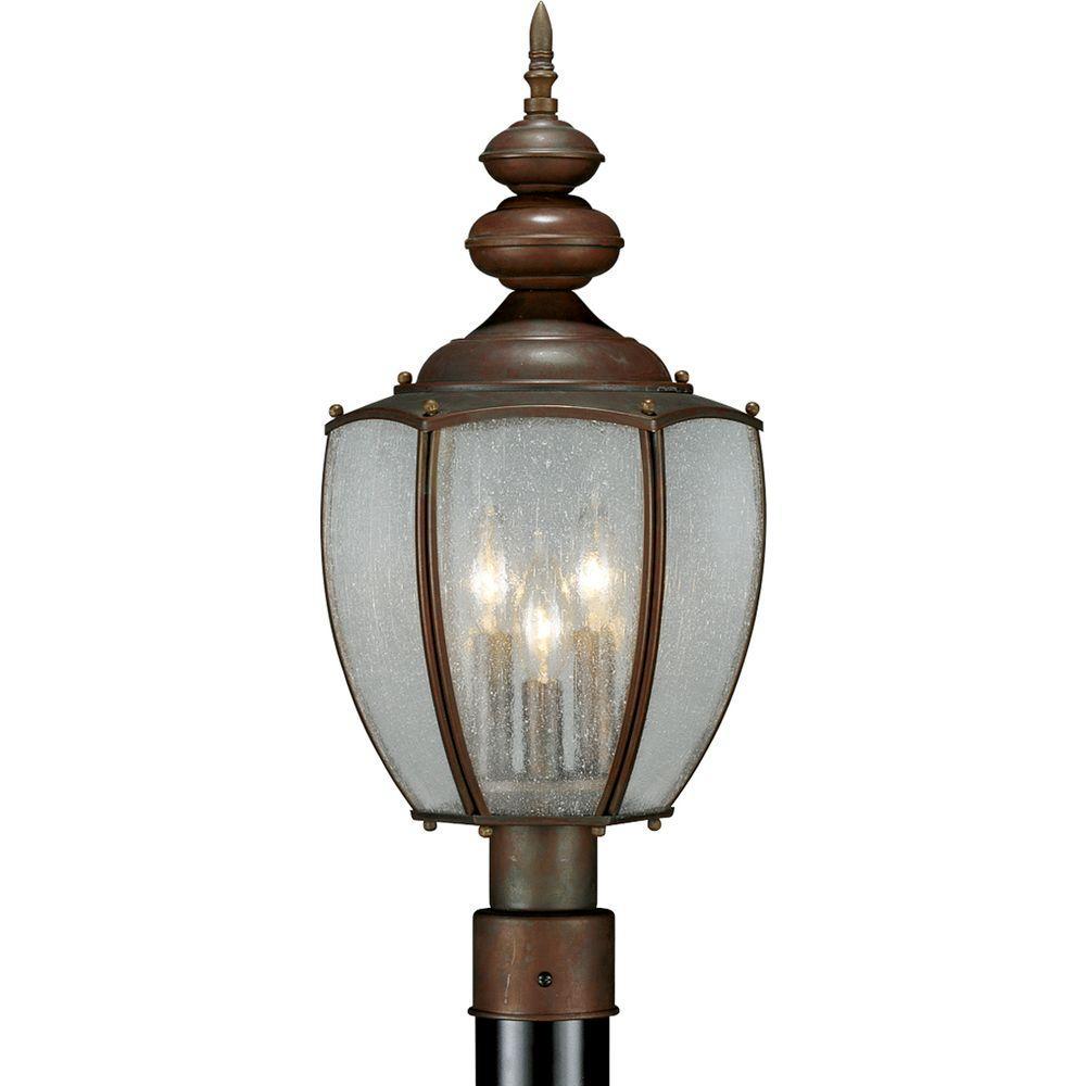 Progress Lighting Roman Coach Collection Roman Bronze 3-light Post Lantern
