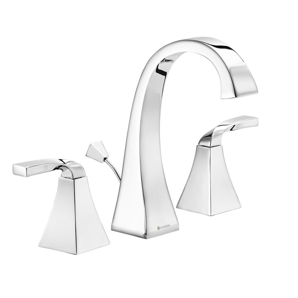 Glacier Bay Leary Curve 8 in. Widespread 2-Handle High-Arc Bathroom Faucet in Chrome