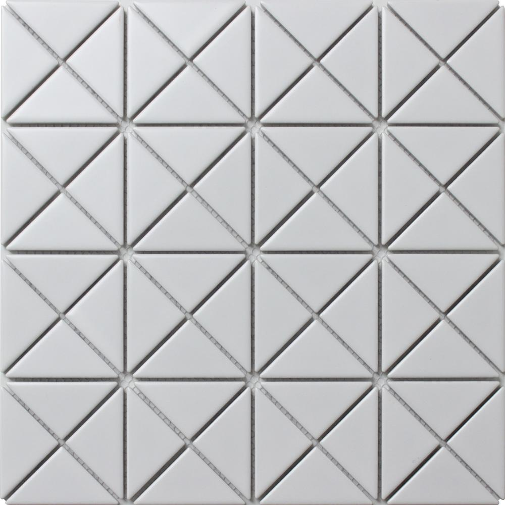 Merola Tile Tre Crossover Matte White 10-1/8 in. x 10-1/8 in. x 6 mm Porcelain Mosaic Tile