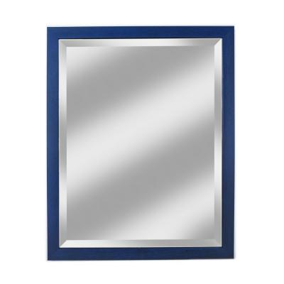 Medium Rectangle Weathered Blue With Taupe Undertones Beveled Glass Casual Mirror (33 in. H x 33 in. W)