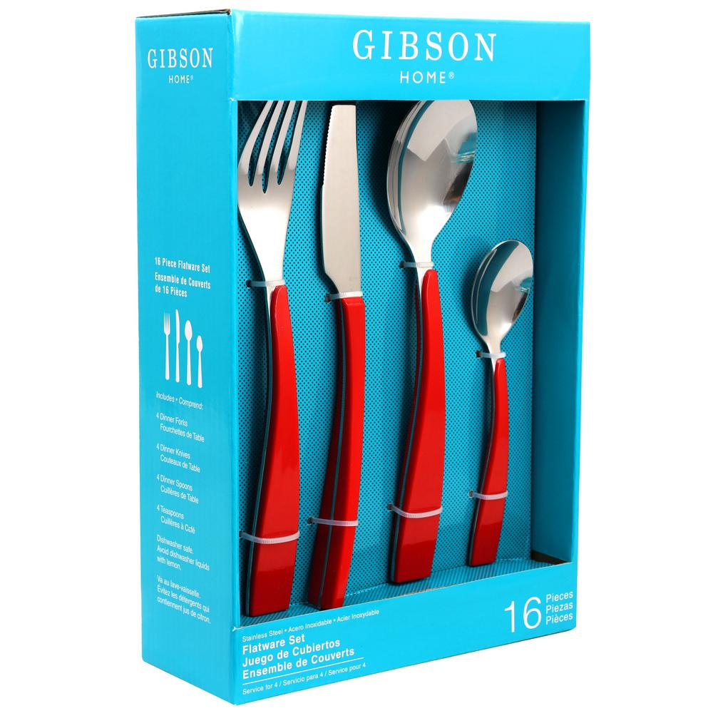 GIBSON HOME Deco Shine 16-Piece Red Flatware Set-985100603M - The ...