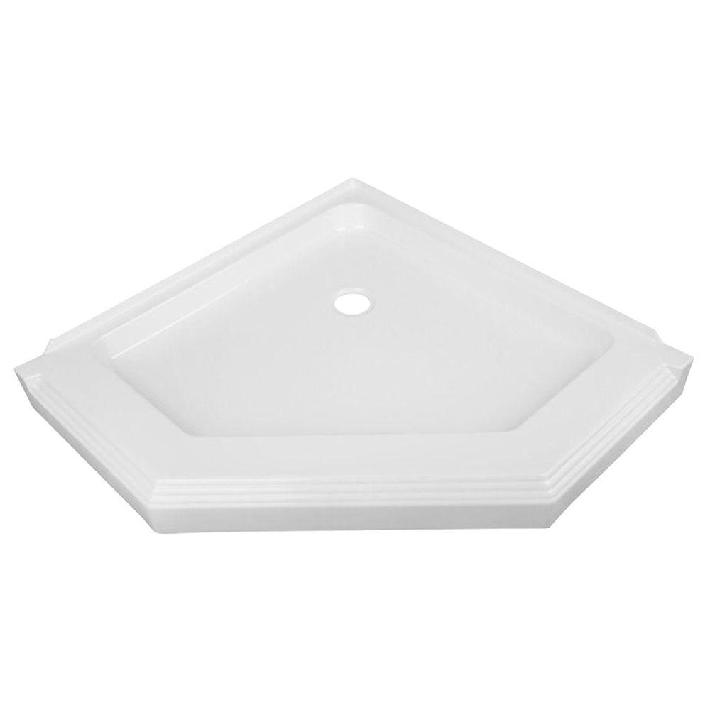 null 38 in. x 38 in. Single Threshold Neo-Angle Shower Base in White