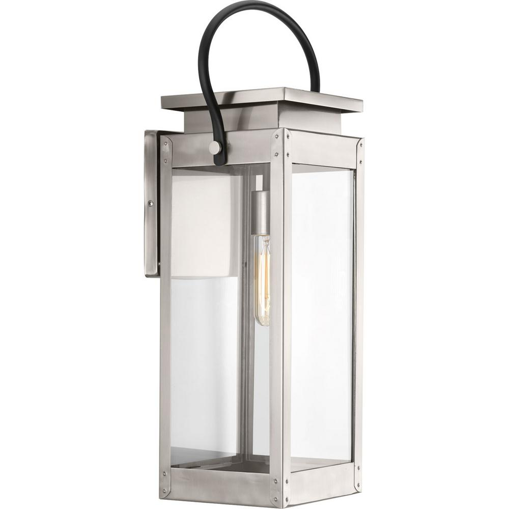 Union Square Collection 1-Light Stainless Steel 23.6 in. Outdoor Wall Lantern Sconce