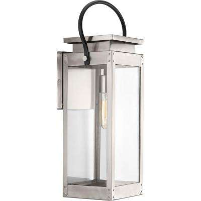 Union Square Collection 1-Light Stainless Steel 23.6 in. Outdoor Wall Lantern
