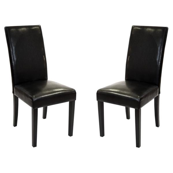 Black Bonded Leather Side Chair Jorma (Set of 2)