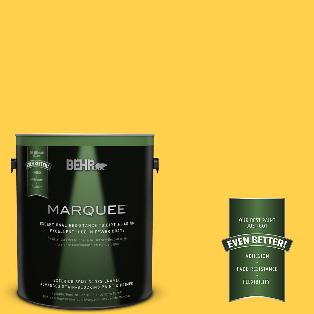 1-gal. #360B-6 Flame Yellow Semi-Gloss Enamel Exterior Paint