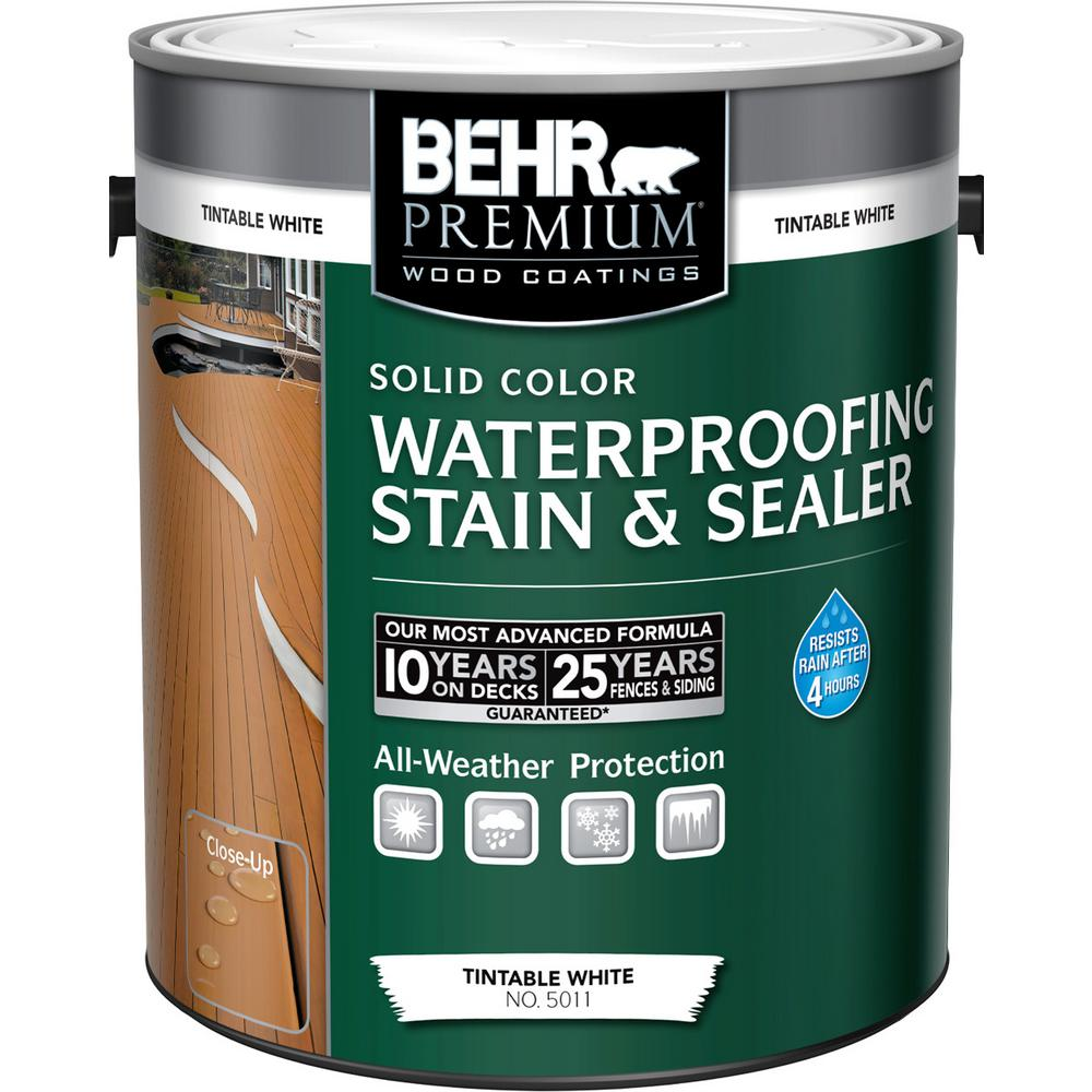 BEHR Premium 1 Gal. White Tint Base Solid Color Waterproofing Stain and Sealer