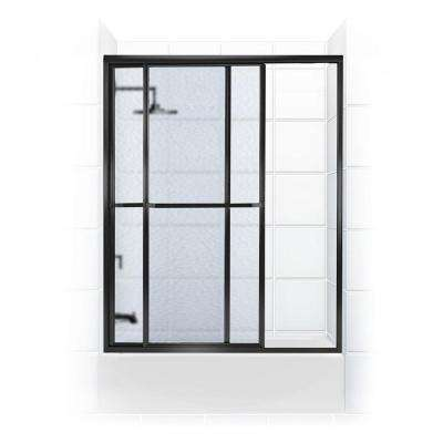 Paragon Series 66 in. x 58 in. Framed Sliding Tub Door with Towel Bar in Black Bronze and Obscure Glass