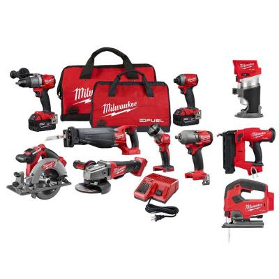 M18 FUEL 18-Volt Lithium-Ion Brushless Cordless Combo Kit (10-Tool) W/(2) 5.0 Ah Batteries, (1) Charger, (2) Tool Bags
