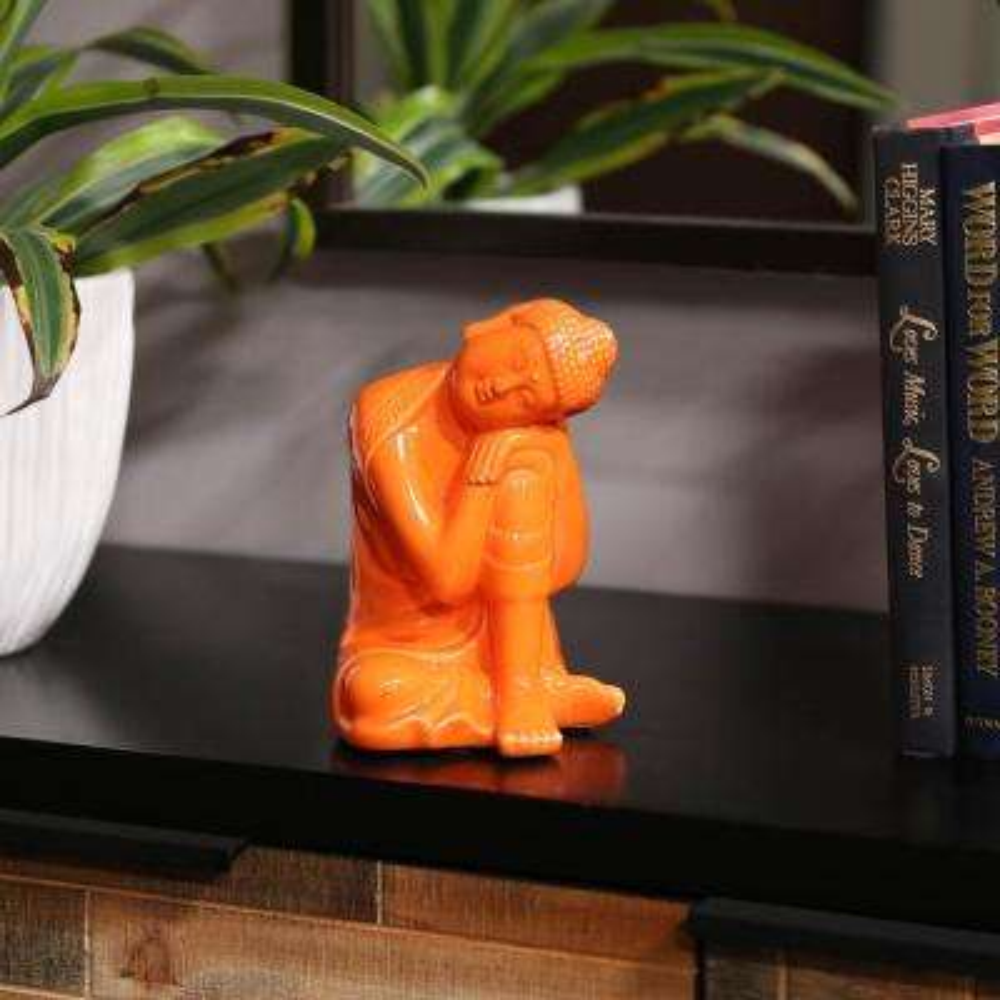 6.75 in. H Buddha Decorative Figurine in Orange Gloss Finish