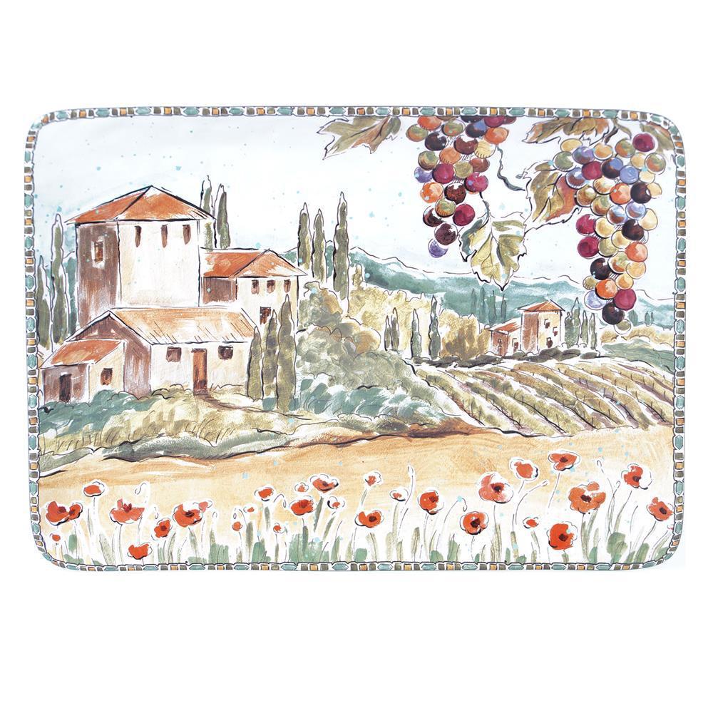 Multi-Colored 16 in. Tuscan Breeze Rectangular Platter