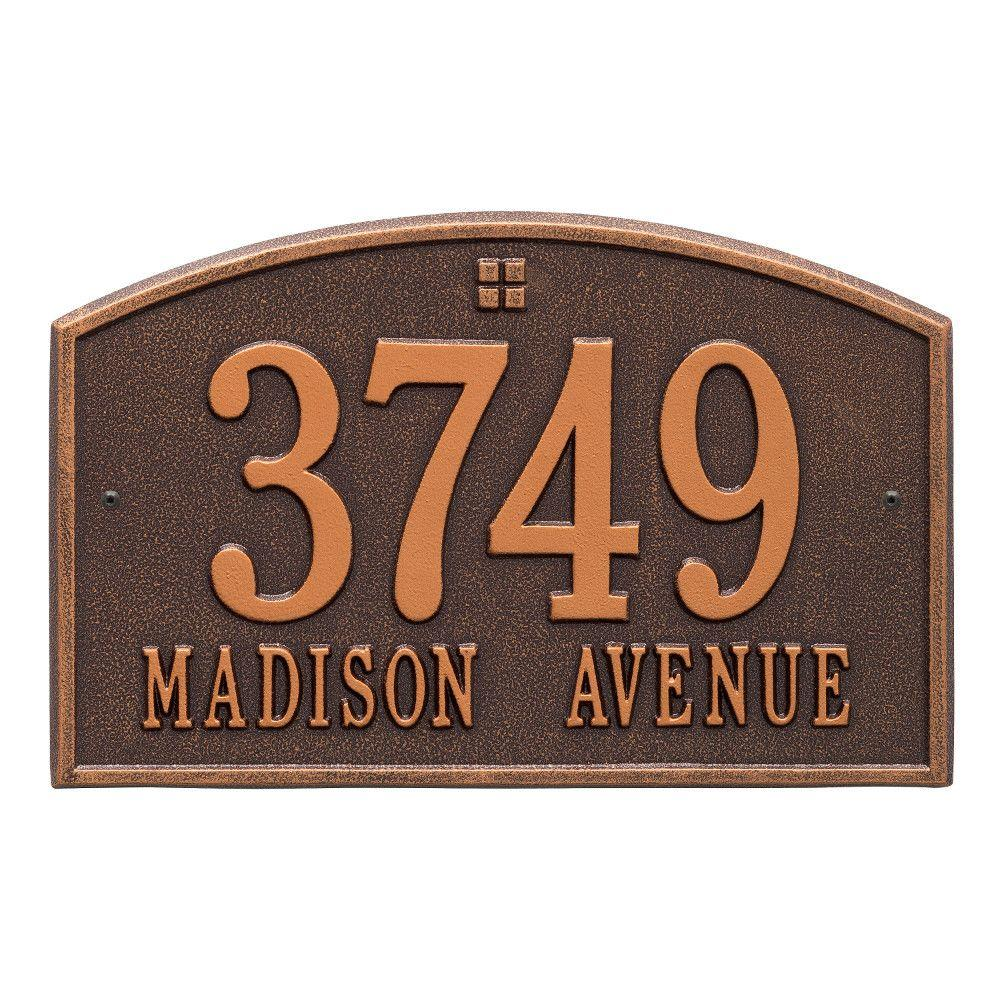 Cape Charles Standard Rectangular Antique Copper Wall 2-Line Address Plaque