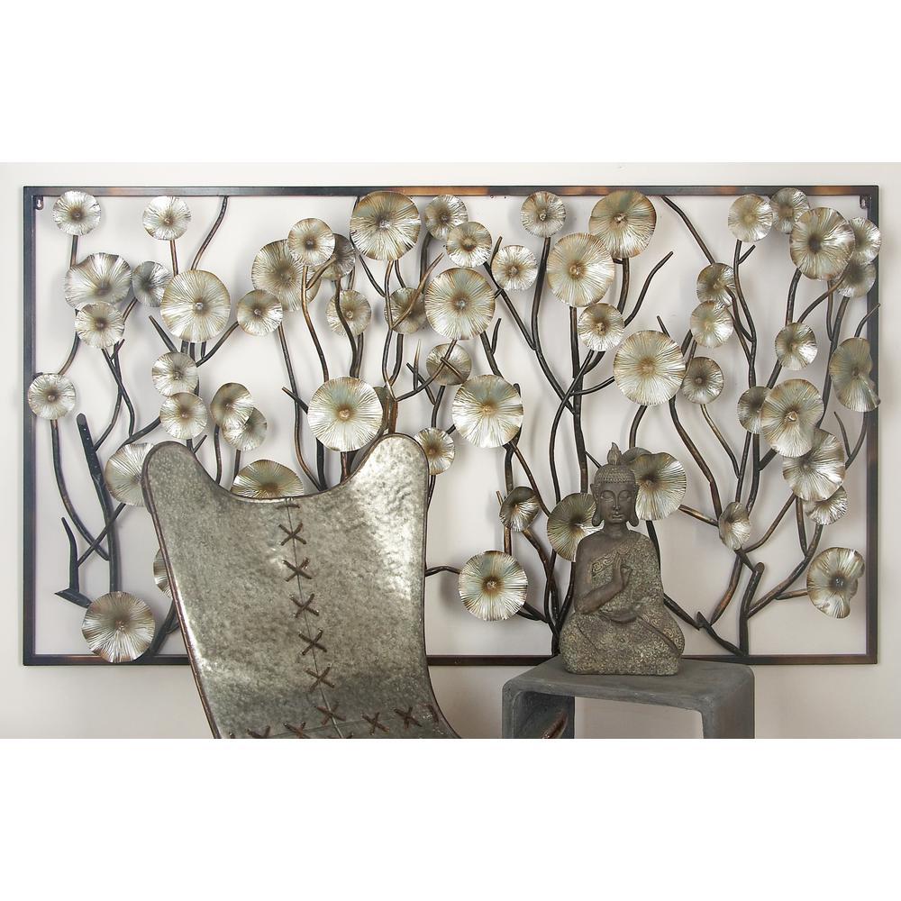 Litton Lane Iron Rustic Gray Flower and Vine Wall Decor 67054