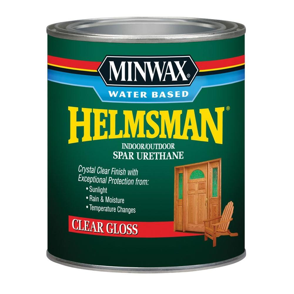 1 qt. Clear Gloss Water Based Helmsman Indoor/Outdoor Spar Urethane (4-Pack)