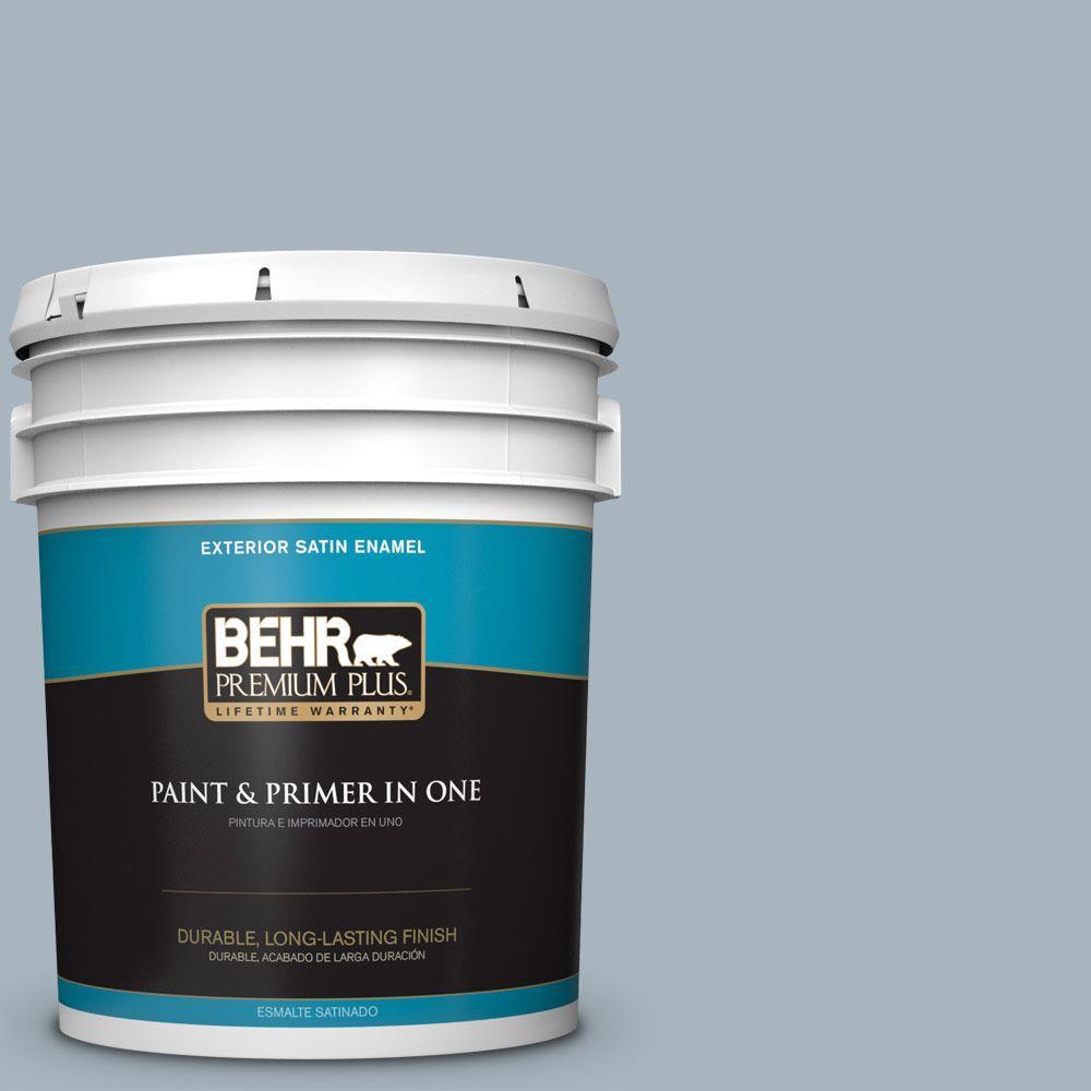 BEHR Premium Plus 5-gal. #N480-3 Shadow Blue Satin Enamel Exterior Paint