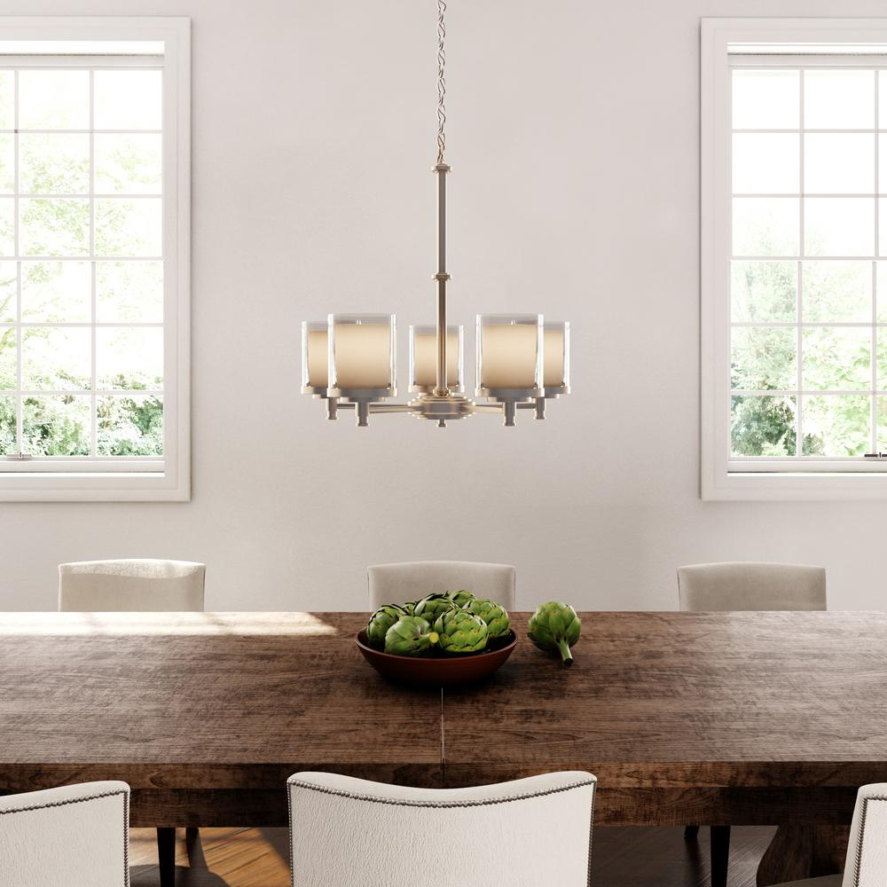 Hampton Bay Burbank 5-Light Brushed Nickel Chandelier with Dual Glass Shades
