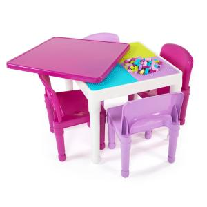 Surprising Tot Tutors Playtime 5 Piece White Pink 2 In 1 Plastic Lego Machost Co Dining Chair Design Ideas Machostcouk