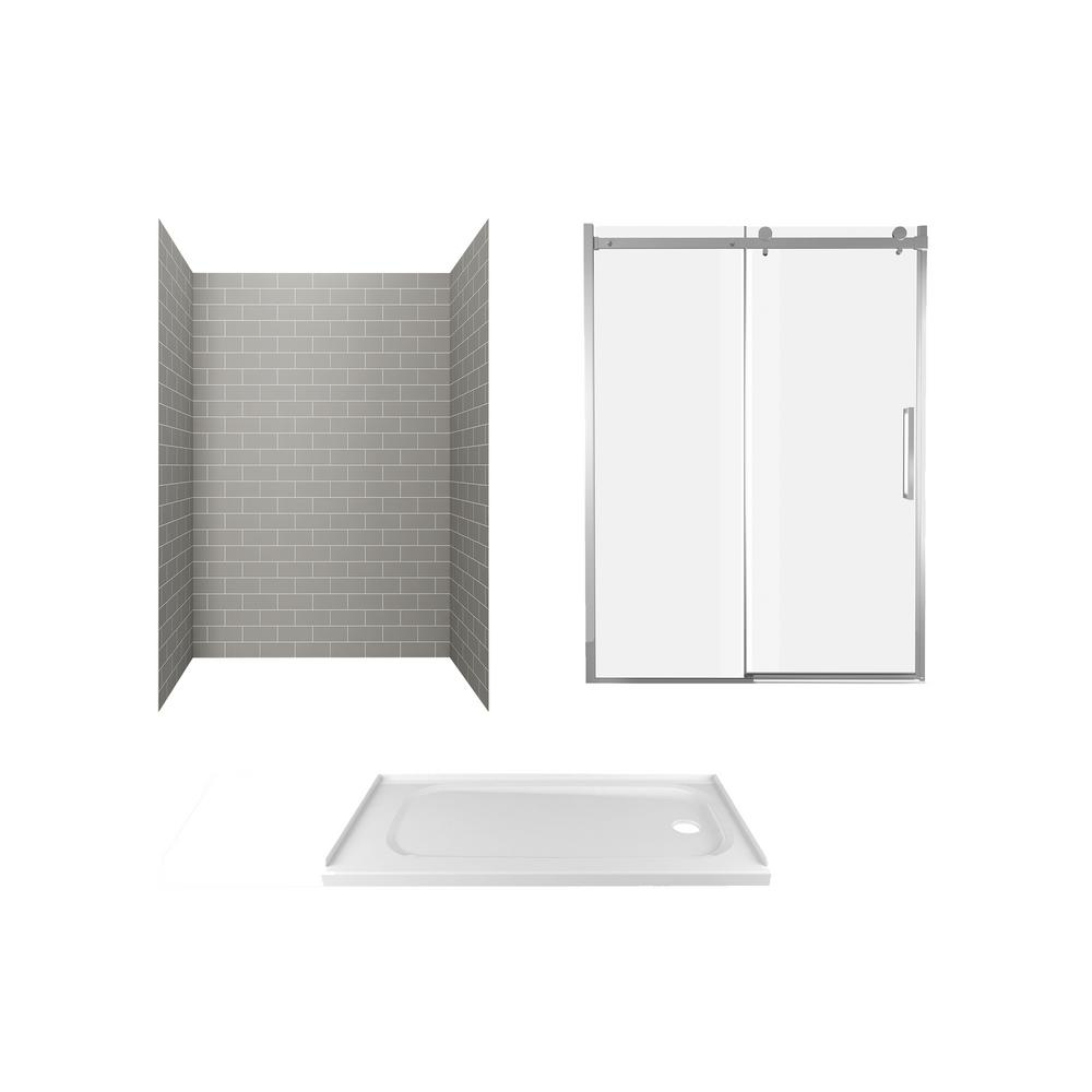 American Standard Passage 60 in. x 72 in. 3-Piece Glue-Up Alcove Shower Wall, Door and Base Kit with Right Hand Drain in Gray Subway Tile