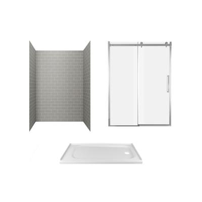 Passage 60 in. x 72 in. 3-Piece Glue-Up Alcove Shower Wall, Door and Base Kit with Right Hand Drain in Gray Subway Tile