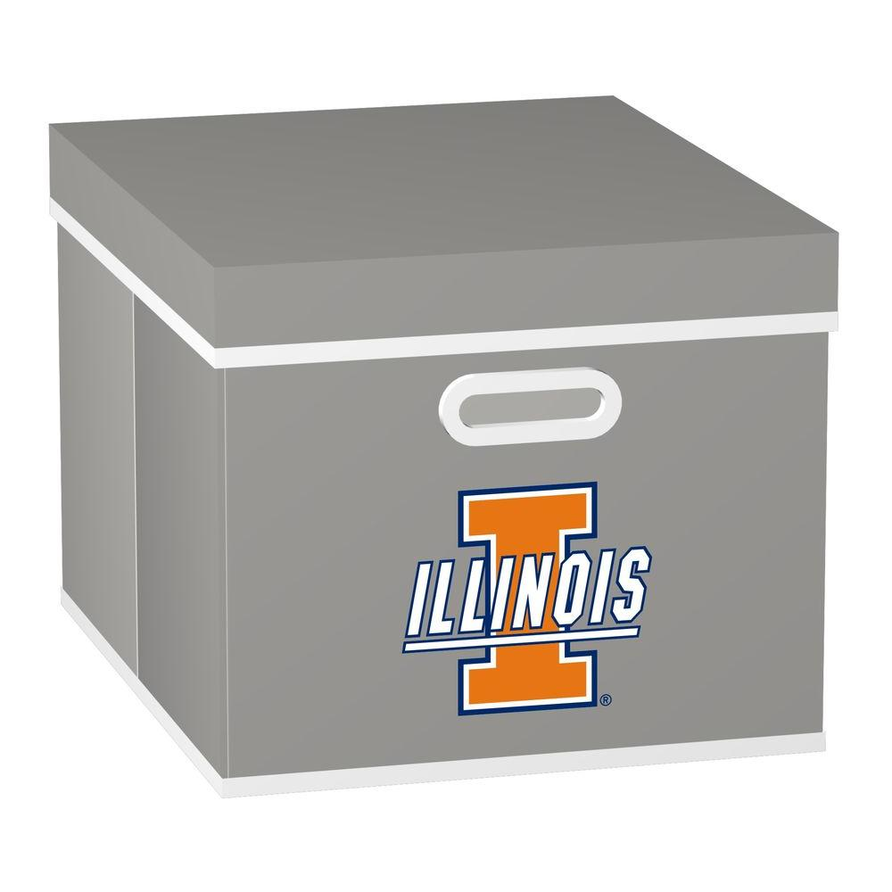 MyOwnersBox College STACKITS University of Illinois 12 in. x 10 in. x 15 in. Stackable Grey Fabric Storage Cube