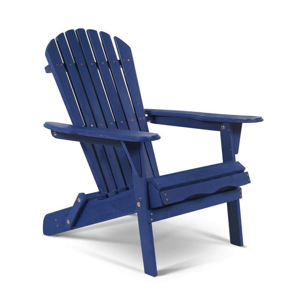 Classic Navy Blue Folding Wood Adirondack Chair