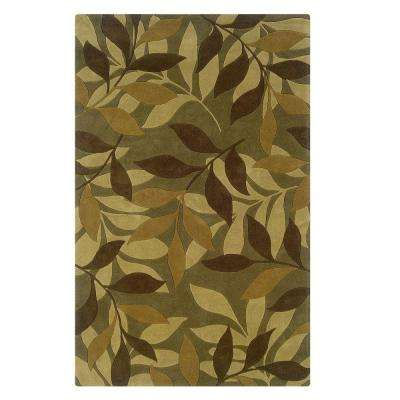Trio Collection Green and Brown 5 ft. x 7 ft. Indoor Area Rug
