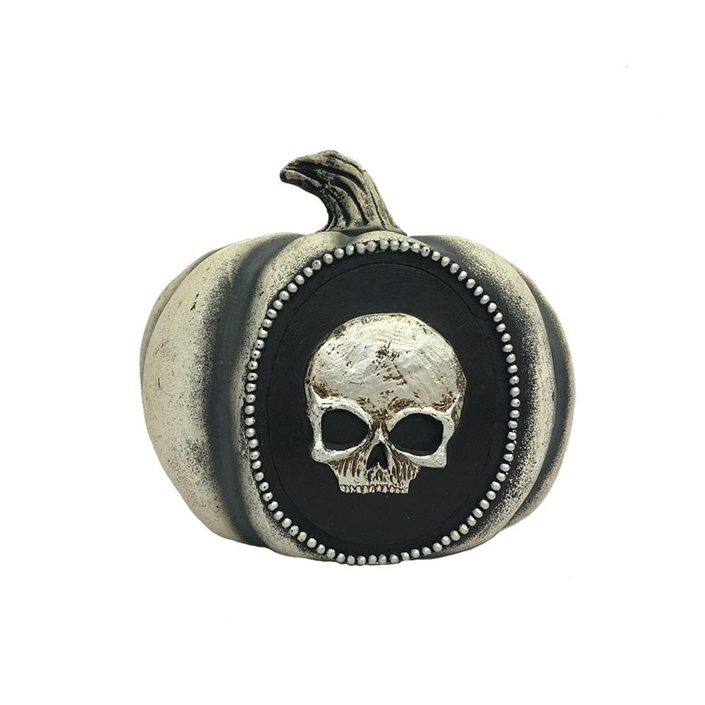 8 in. Halloween Pumpkin with Skull
