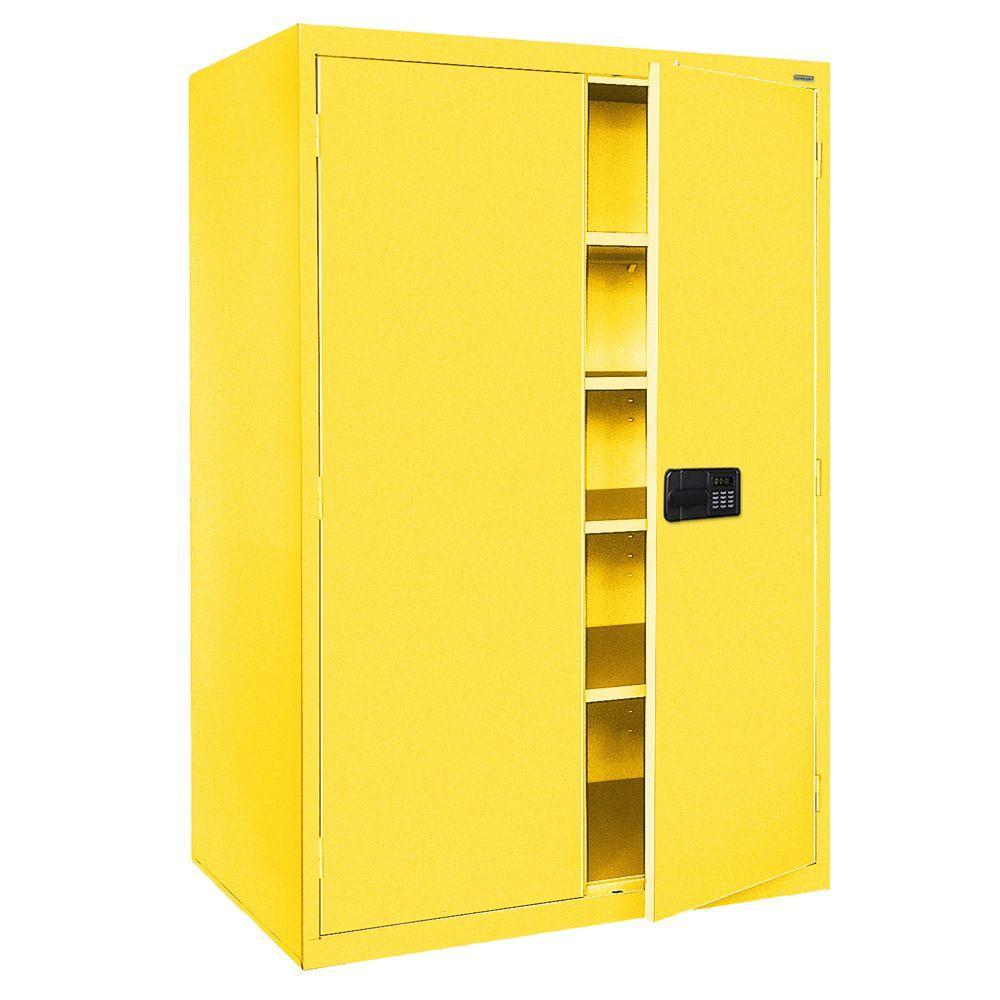 Elite Series 78 in. H x 46 in. W x 24 in. D 5-Shelf Steel Keyless Electronic Handle Storage Cabinet in Yellow