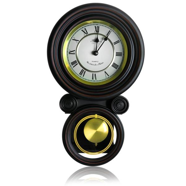Bedford Clock Collection Contemporary Black Round Wall Clock with Pendulum