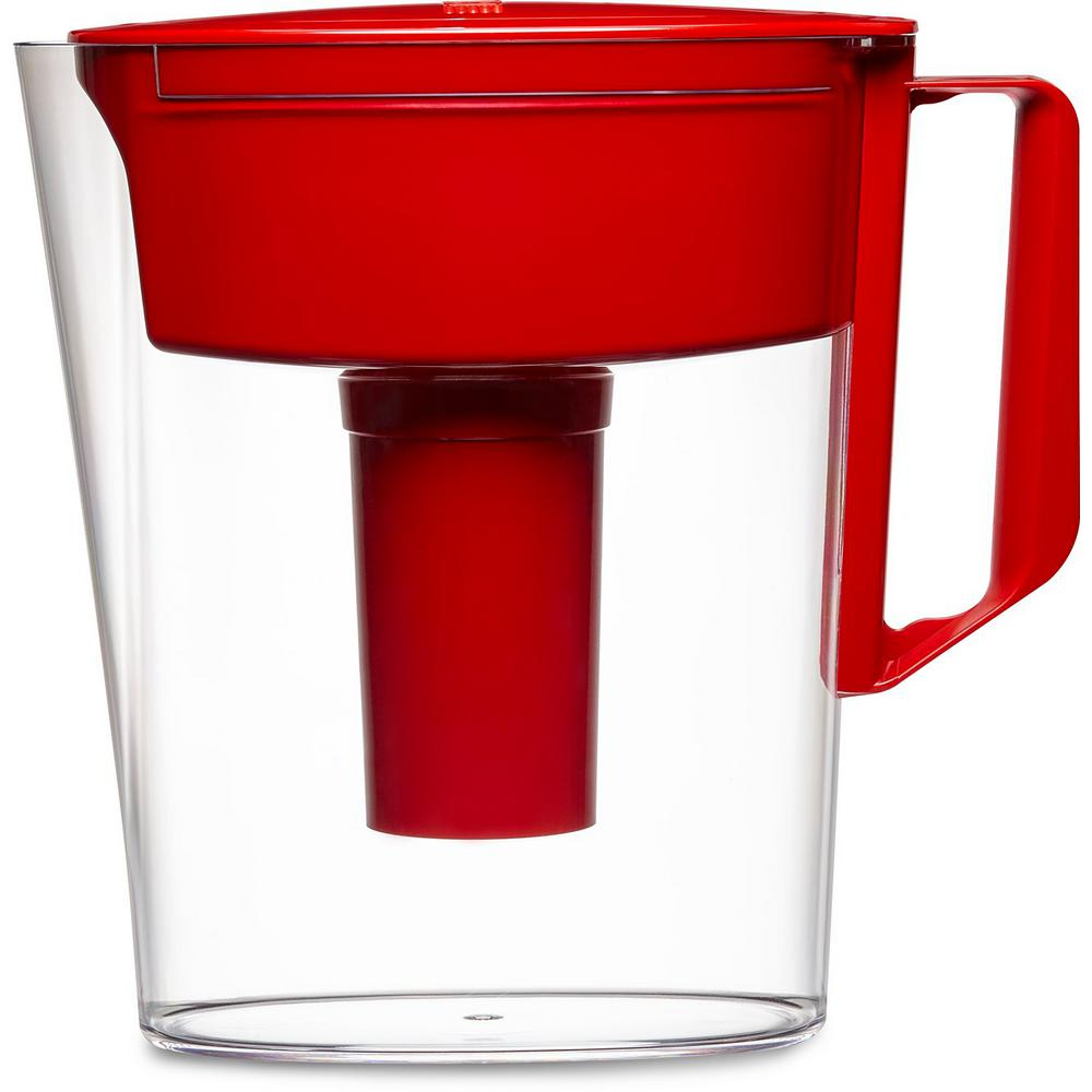 5-Cup Filtered Water Pitcher in Red