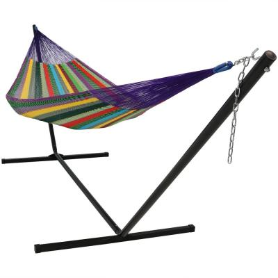 13 ft. 2-Person Hand-Woven Matrimonial Size Mayan Hammock Bed with Stand in Multi-Color