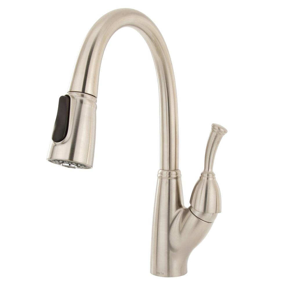 Delta Allora Single-Handle Pull-Down Sprayer Kitchen Faucet in Stainless Steel featuring MagnaTite Docking-DISCONTINUED