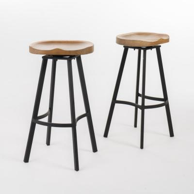 Silas 31.5 in. Natural Swivel Bar stool (Set of 2)