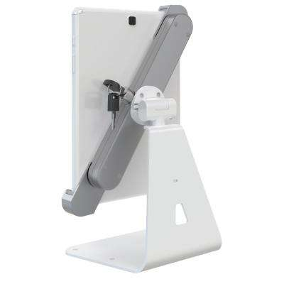 """Barkan 8.7"""" to 12"""" Lockable Anti-Theft Tablet Desk Stand, White & Silver, Touch & Tilt, 360° Rotation"""