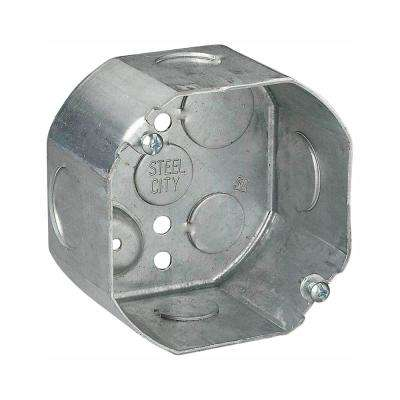 4 in. x 2-1/8 in. Deep New Work Octagon Metal Electrical Box with 1/2 in. and 3/4 in. Knockouts (Case of 25)