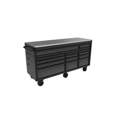 72 in. W x 24 in. D 15-Drawer Mobile Workbench with Stainless Steel Top in Textured Black