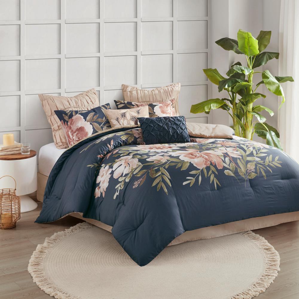 Maia 8-Piece Navy Floral Cotton King Comforter Set