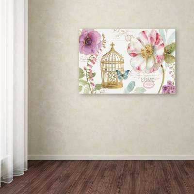 """30 in. x 47 in. """"Rainbow Seeds Floral Birdcage I"""" by Lisa Audit Printed Canvas Wall Art"""